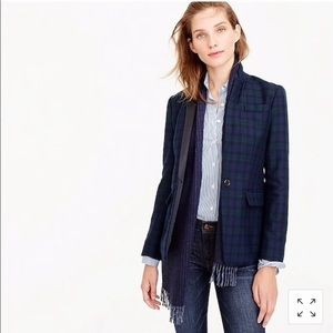 J.Crew Black Watch Plaid Satin Lapel Regent Blazer